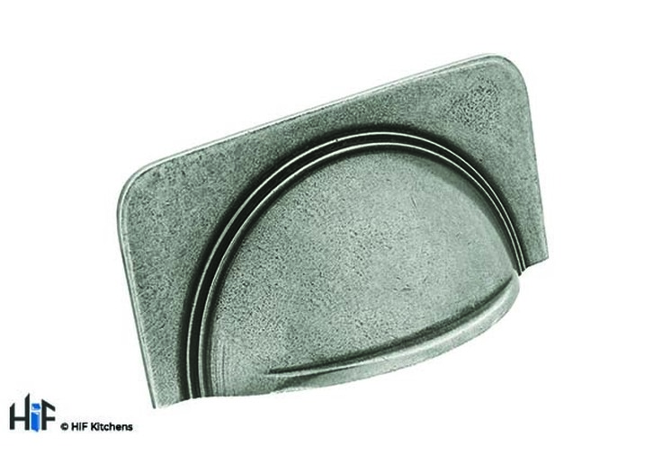 H1112.64.PE Cromwell Cup Handle Raw Pewter 64mm Hole Centre Image 1