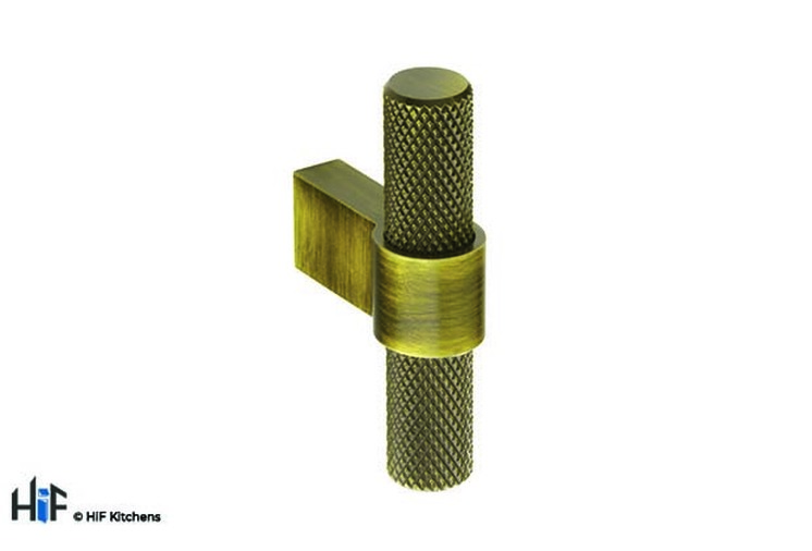 H1125.35.AGB Knurled T-Bar 60mm Aged Brass Image 1