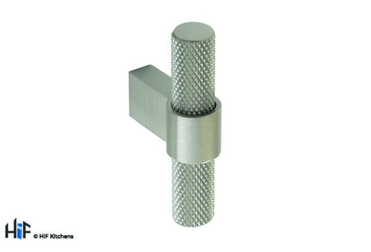 H1125.35.SS Knurled T-Bar Handle Polished Stainless Steel Central Hole Centre Image 1