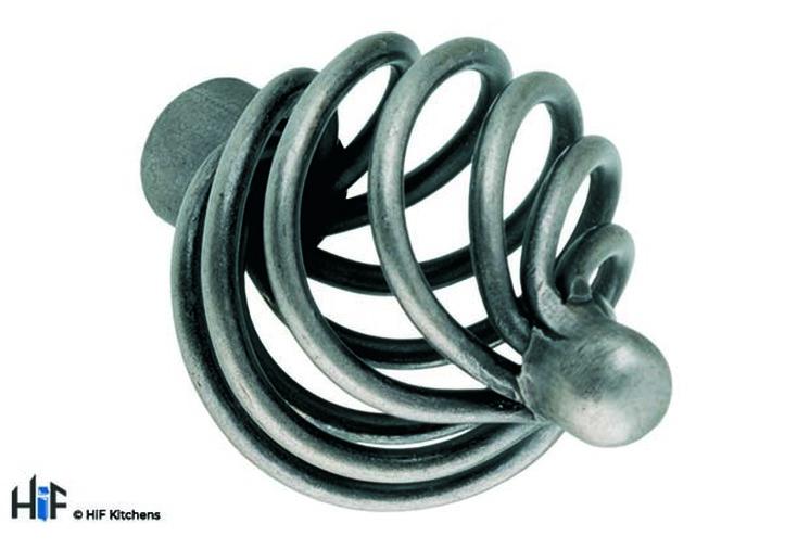 K083.32.CI Kitchen Knob Basket weave 32mm Die-Cast Iron Image 1