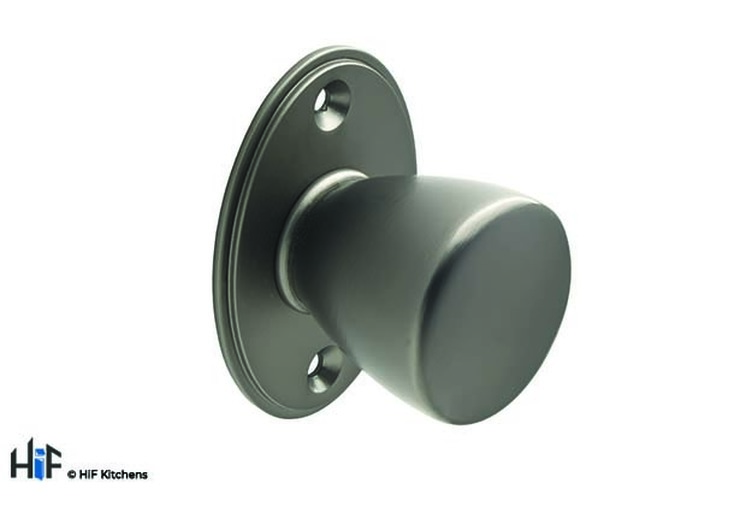 K1000.35.BS Round Knob With Backplate 35mm DIA Knob Black Satin Image 1