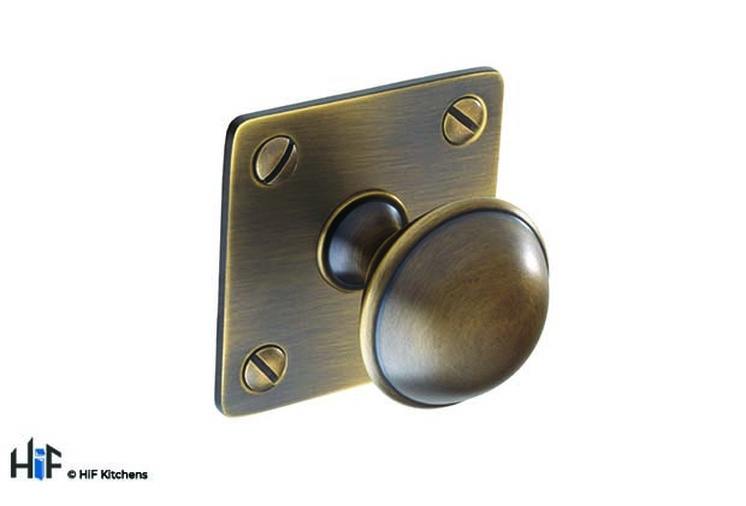 K1075.32.BR Brass Knob With Backplate Antique Bronze Image 1