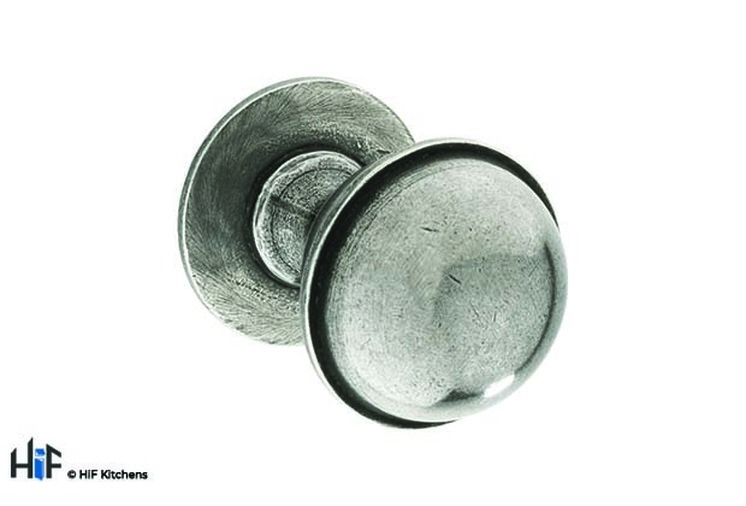 K1109.35.PE  Kitchen Knob With Stepped Detail 35mm Solid Pewter Image 1