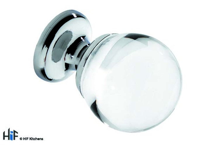 K165.30.C Knob Sphere 30mm Diameter Clear Glass With Bright Chrome Image 1