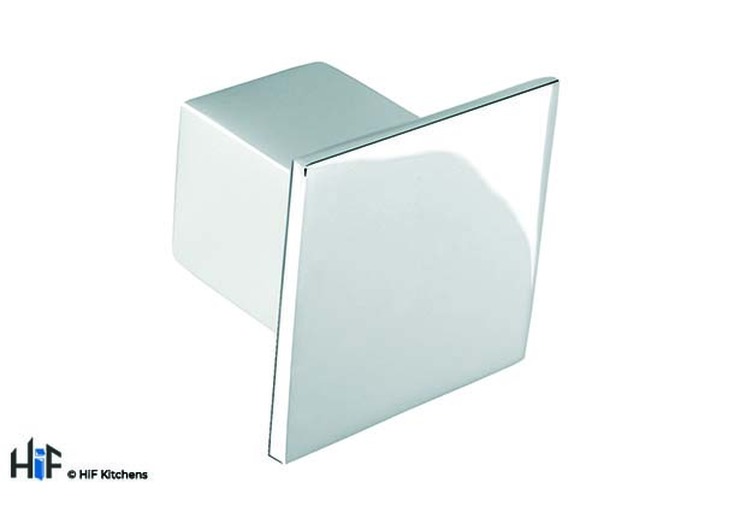 K354.36.CH Kitchen Knob Square 36mm Die-Cast Chrome Image 1