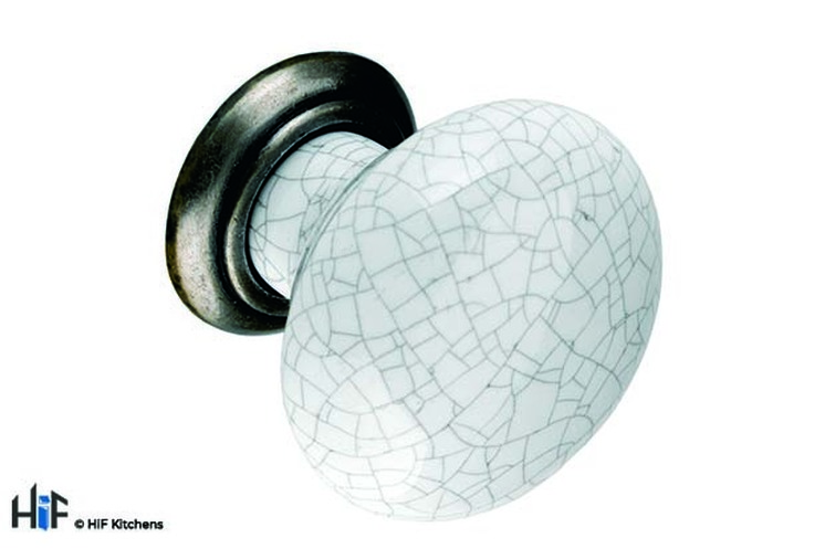 K373.35.PEGC Knob 35mm Antiqued Pewter And Grey Crackled Effect Image 1