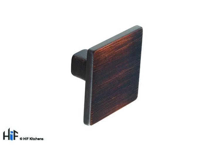 K557.35.BC Kitchen Square Knob 35mm Burnt Copper Effect Image 1