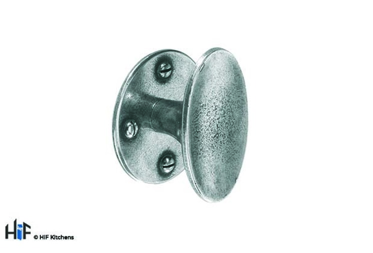 K628.50.PE Knob 50mm Diameter C/W Backplate Pewter  Image 1
