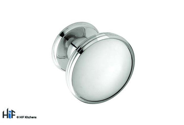 K874.37.BN  Knob Oval With 3 Line Detail 37mm Dia Bright Nickel Image 1