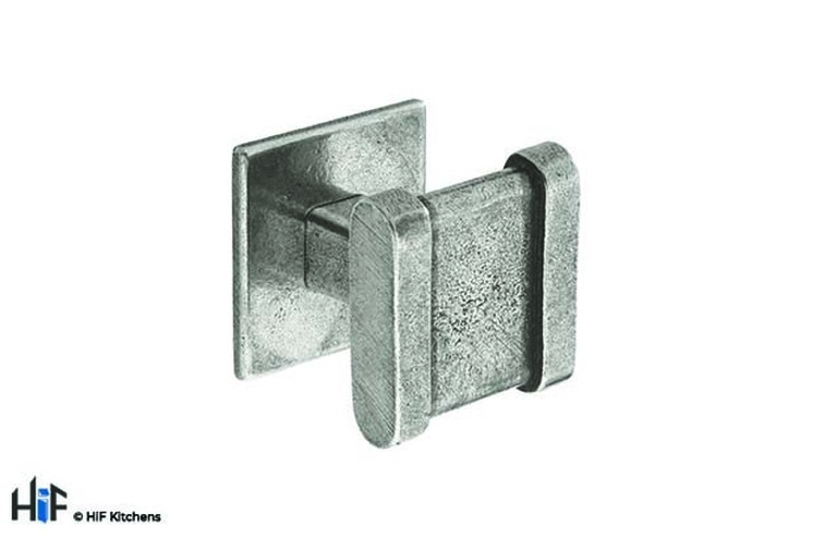 K886.30.PE Kitchen Knob Square 30mm C/W Backplate Pewter 1909 Image 1