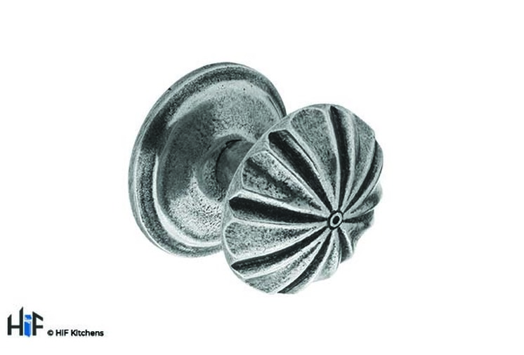K894.37.PE Kitchen Knob 37mm Diameter C/W Backplate Pewter Image 1
