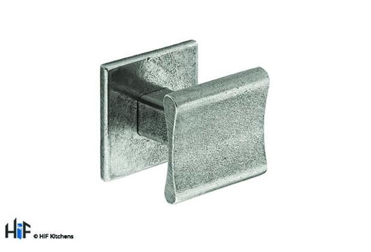 K895.30.PE  Kitchen Knob Square 30mm C/W Backplate Pewter 1909 Image 1