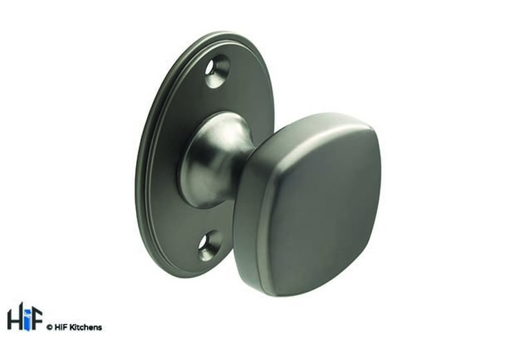 K999.38.BS Square Knob With Backplate 38mm Dia Knob Black Satin Image 1