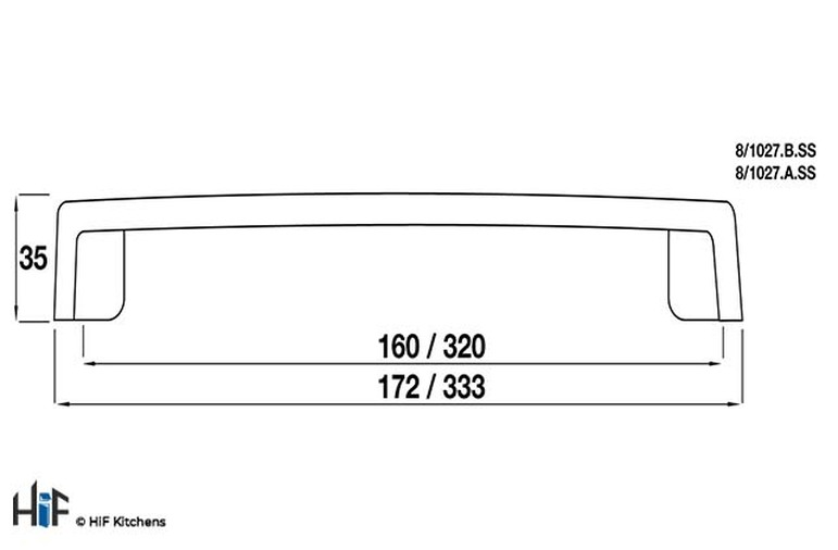 8/1027.B.SS Kitchen Seaham Bow Handle Stainless Steel Effect Image 2