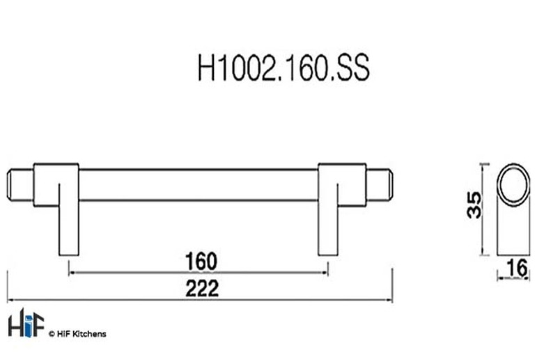 H1002.160.BN Kitchen Bar Handle 160mm Bright Nickel Image 2
