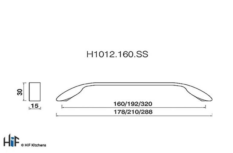 H1012.160.CH Kitchen D Handle 160mm Chrome Effect Image 2