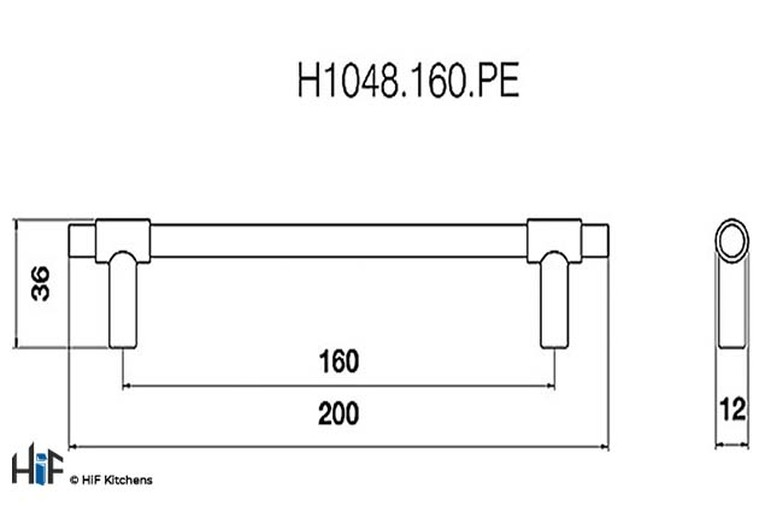 H1048.160.PE Leigh Bar Handle Polished Pewter 160mm Hole Centre Image 2