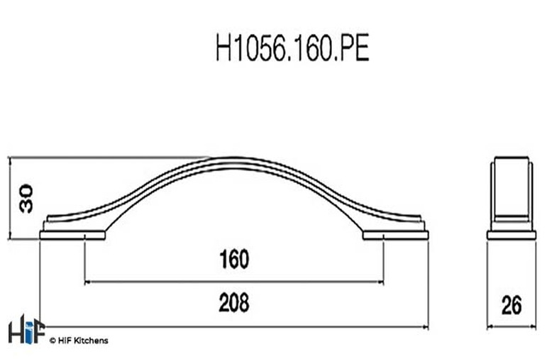H1056.160.PE Bow Handle 160mm Pewter  Image 2