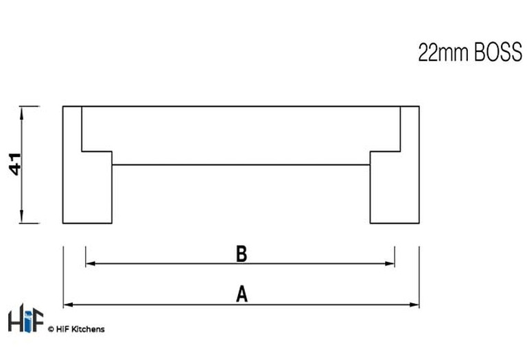 H198.337.SS Boss Bar Handle 22MM Dia Stainless Steel Image 2