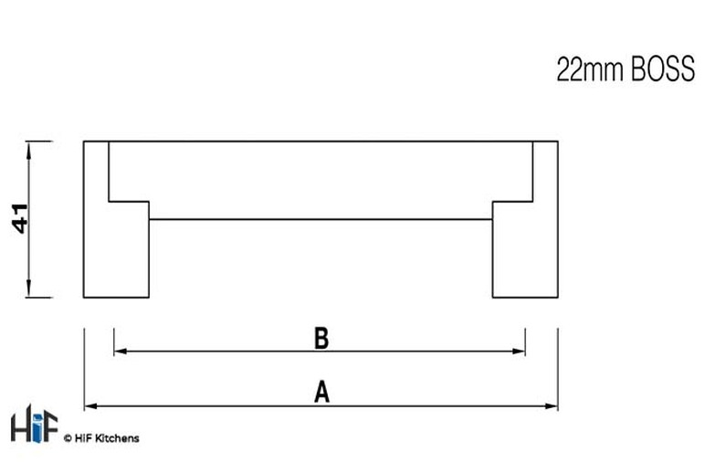 H400.835.SS Boss Bar Handle 22mm Dia Stainless Steel Image 2
