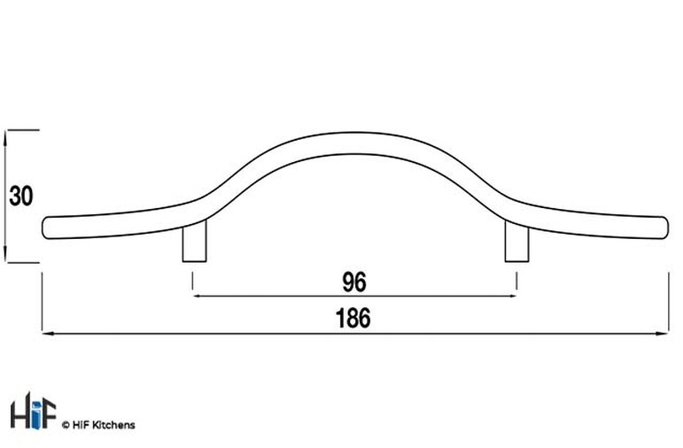 H404.96.PE Kitchen Bow Handle 96mm Pewter  Image 2
