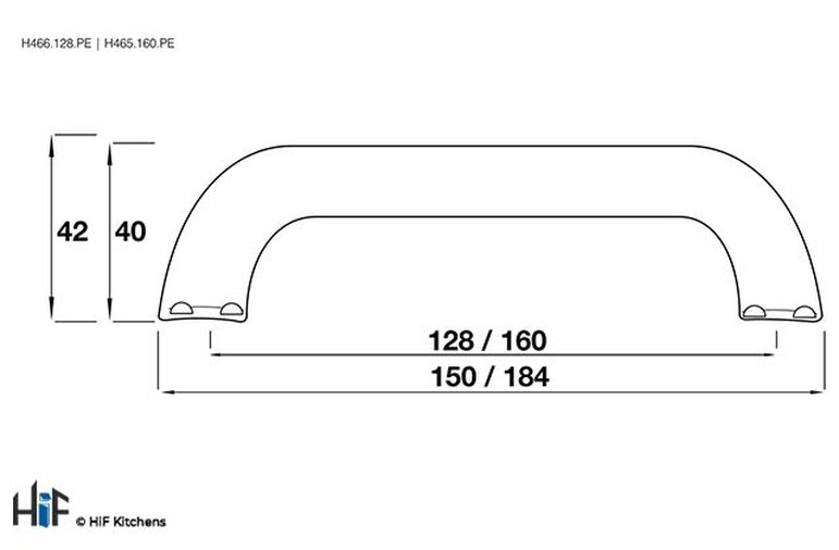 H465.160.PE Kitchen Bow Handle 160mm Pewter  Image 2