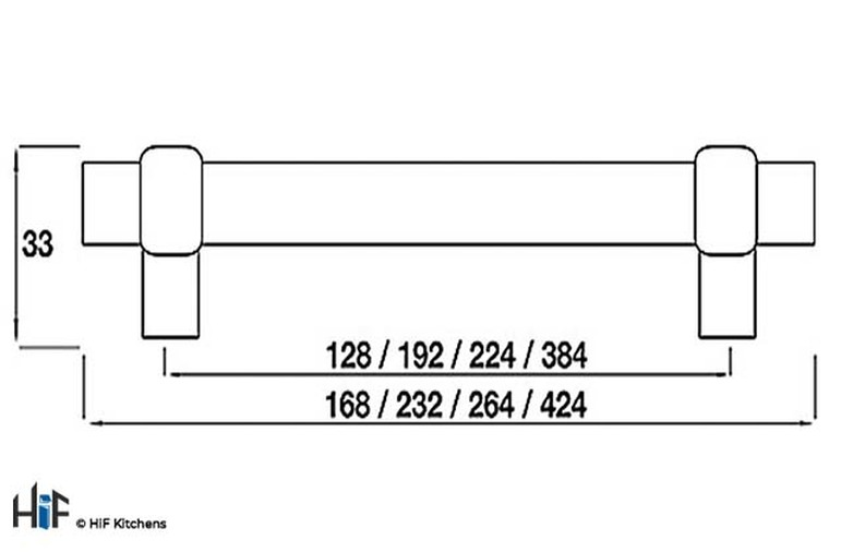 H503.128.BN Arlington Bar Handle Polished Nickel 128mm Hole Centre Image 2