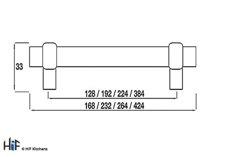 H503.128.BS Arlington Bar Handle Satin Black 128mm Hole Centre Image 2