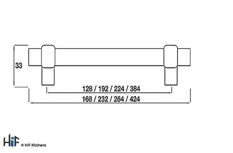 H504.192.BS Arlington Bar Handle Satin Black 192mm Hole Centre Image 2