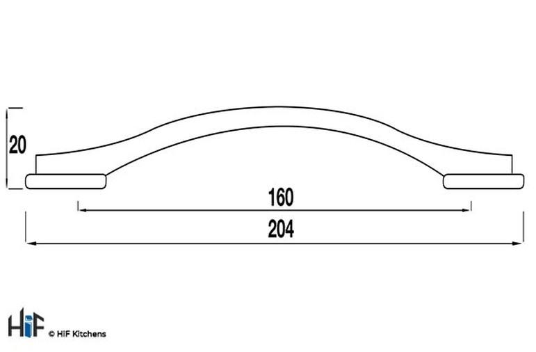 H524.160.CH Kitchen Bridge Handle 160mm Chrome Effect Image 2