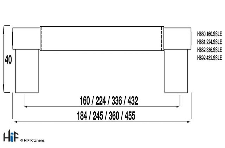 H681.224.SSLE Bar Handle Stainless Steel Effect Image 2
