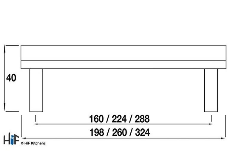 H784.224.PE Croxdale Oval Bar Handle 224mm Pewter  Image 2