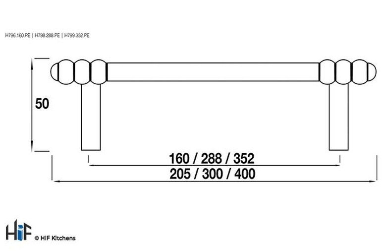 H799.352.PE Heaton Oval Bar Handle 352mm Pewter  Image 2
