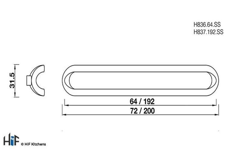 H837.192.SS Open D Handle Stainless Steel Effect Image 2