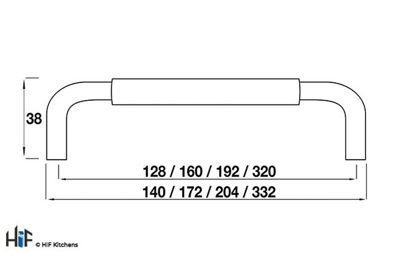 H850.160.SSCH Bar Handle Stainless Steel Effect Image 2