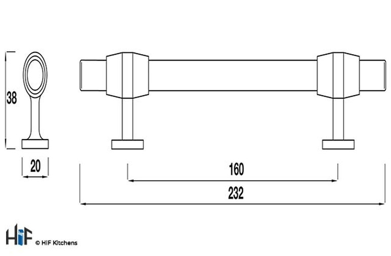 H882.160.BN Bedford Bar Handle Polished Nickel 160mm Hole Centre Image 2