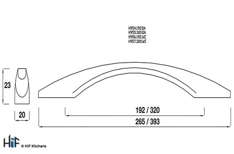 H954.192.OA Kitchen Bow Handle 192mm Oak Image 2