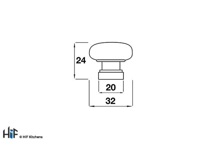 CF6420 Kitchen Knob 32mm Die-Cast Chrome Image 2
