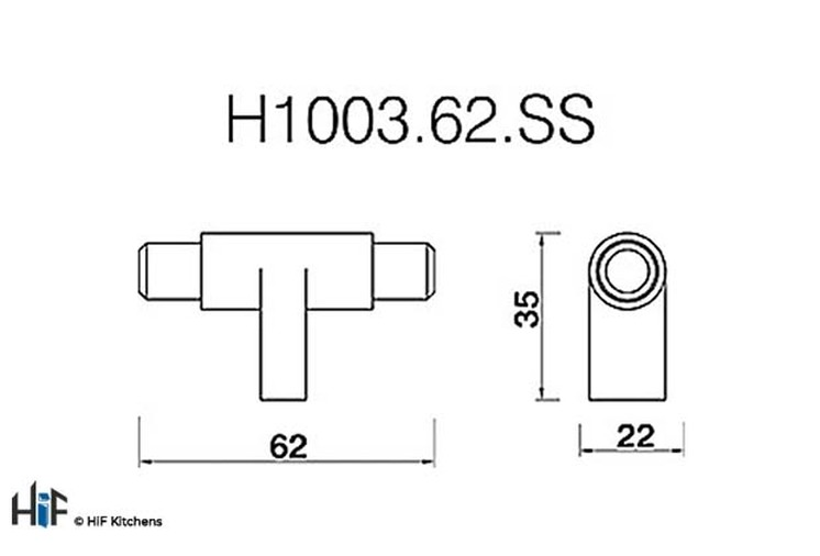 H1003.62.SS Leeming T-Bar Polished Stainless Steel Effect Image 2