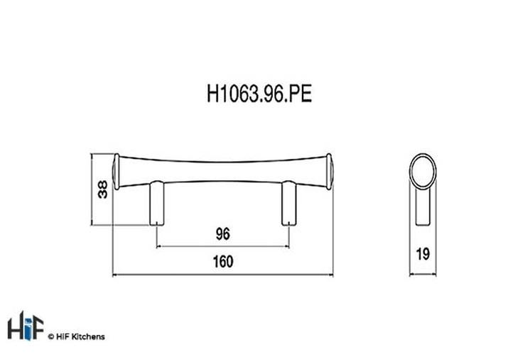 H1063.96.PE Kitchen Bar Handle 96mm Pewter  Image 2