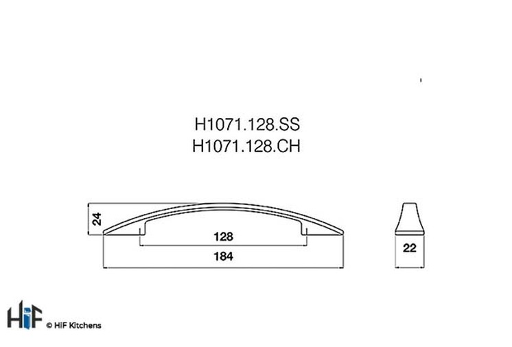 H1071.128.CH Kitchen Bow Handle 128mm Chrome Effect Image 2