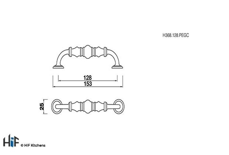 H368.128.PEGC Milner D Handle Ceramic Crackled Effect 128mm Hole Centre Image 2