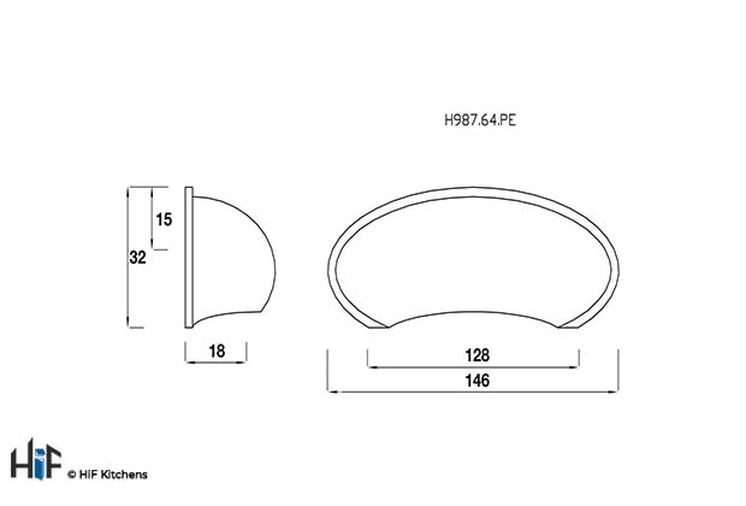 H987.64.PE Kitchen Cup Handle 64mm Pewter  Image 2