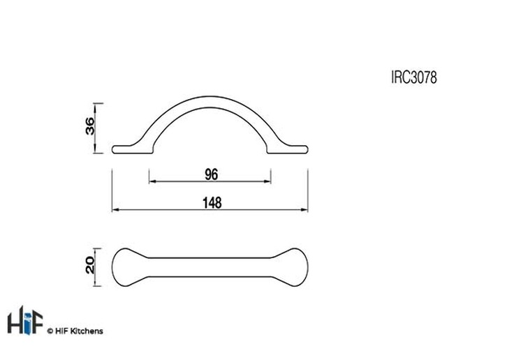 IRC3078 Kitchen Bow Handle 96mm Cast Iron Antiqued Image 2