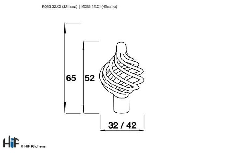 K083.32.CI Kitchen Knob Basket weave 32mm Die-Cast Iron Image 2