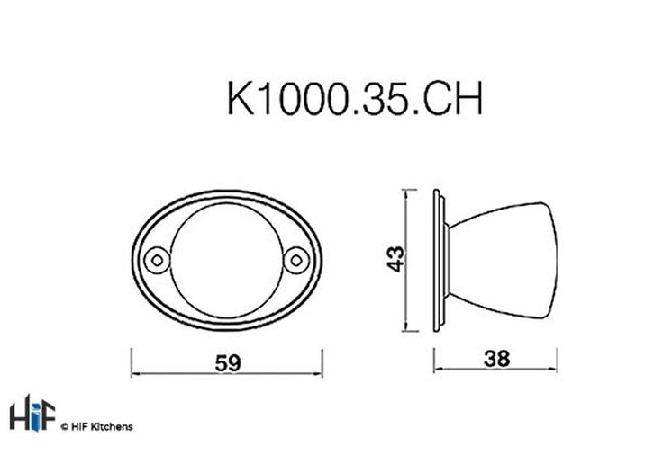 K1000.35.CH Round Knob With Back Plate 35mm Diameter Knob Chrome Image 2