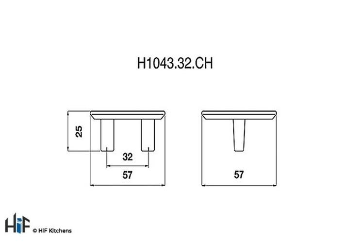 K1043.32.CH Kensington Knob Polished Chrome Central Hole Centre Image 2