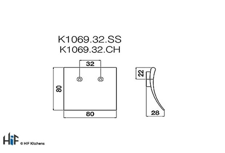 K1069.32.CH Square Pull Handle 32mm Hole Centre Chrome Effect Image 2
