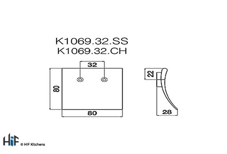 K1069.32.SS Square Knob Stainless Steel Effect Image 2