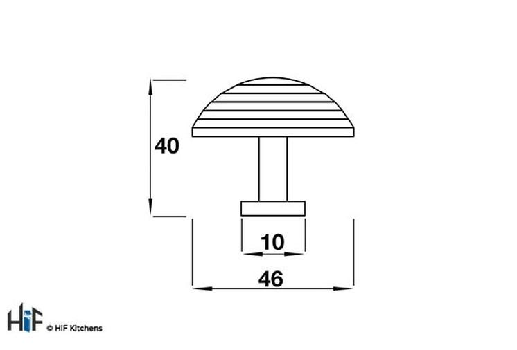 K630.46.PE Heath Knob Raw Pewter Central Hole Centre Image 2